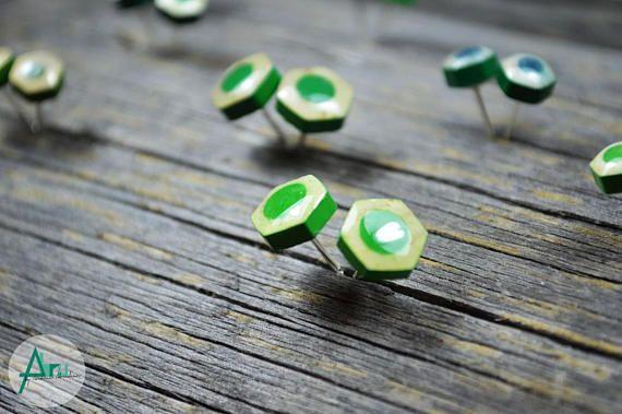 Stud pencil earrings Green studs Hexagonal shape Sterling  #studpencilearrings