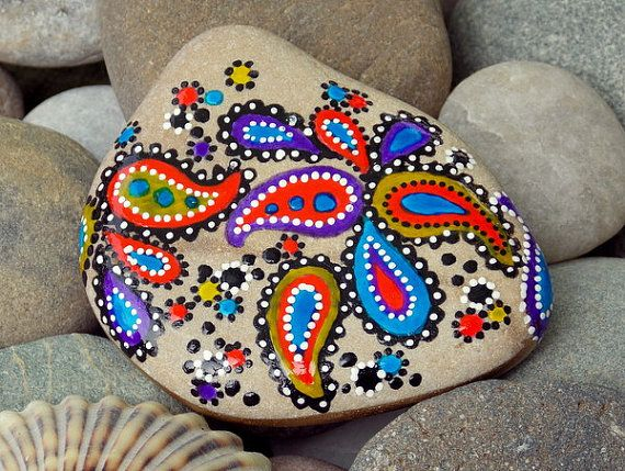 paisley dreams / painted rocks / painted stones by LoveFromCapeCod