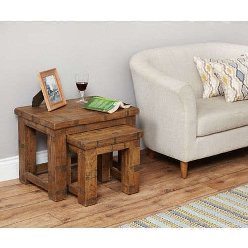 Perfectly sized for any living room - the Heyford Rough Sawn Oak nest of 2 coffee tables.