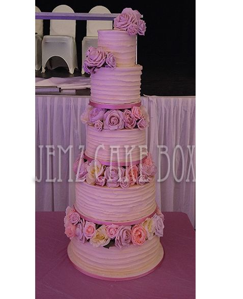 5 Tier Buttercream Floral Wedding Cake desinged and made by Jemz Cak Box