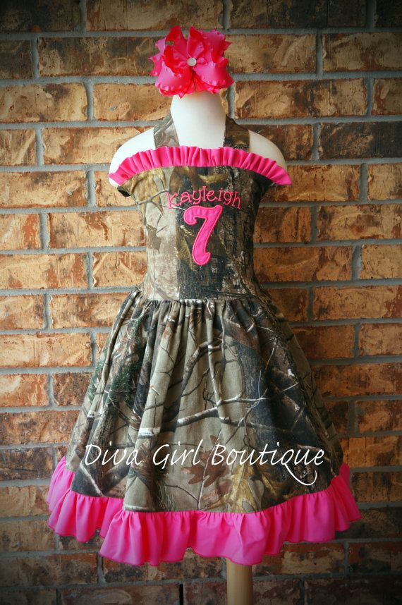 Girls Boutique Dress Birthday Dress Childrens Clothing Camo Pink Duck Dynasty Inspired Pageant Dress  Hairbow 6m 12m 18m 24m 2T 3T 4T 5 6