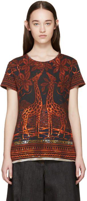 Valentino Black and Orange Giraffe T-Shirt