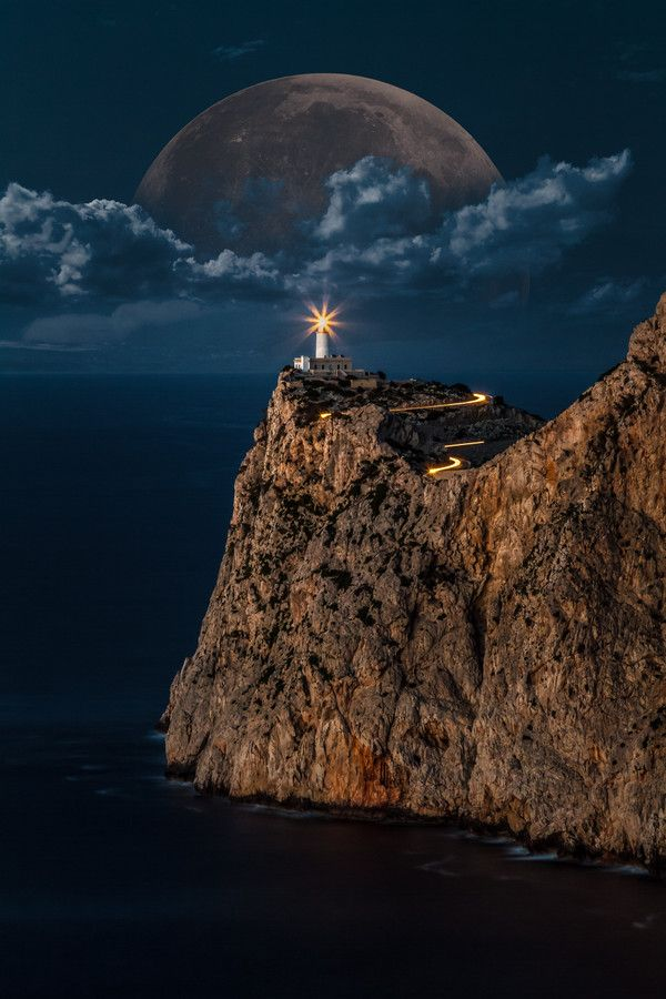 Rising Moon Over Lighthouse, Majorca, Spain