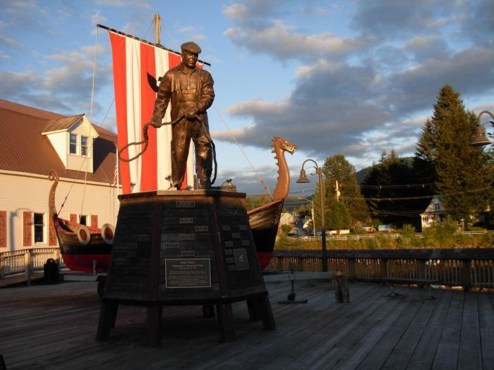 Sons of Norway have this sculpture on the harbor and a hall in town. The group regularly holds celebrations and events to celebrate Norwegian Culture.