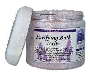 Purifying Bath Salts by Lavender Wind Farm. $8.60. True essential oil blend for scent. Natural ingredients. A bit of oil to moisturize your skin. Your body will tingle after soaking in this specially formulated Bath Salt mixture.  With all the stresses your body endures, a good detoxifying soak is needed so your natural healing processes can work.  Be good to your body.    Ingredients:  Epsom Salt, Sea Salt, Baking Soda, Essential oils.  Net wt. 17   oz.