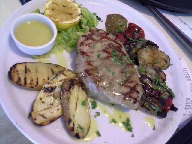 Filet mignon served with grilled vegetables  #lefkada #greece #nissirestaurant #gastronomy