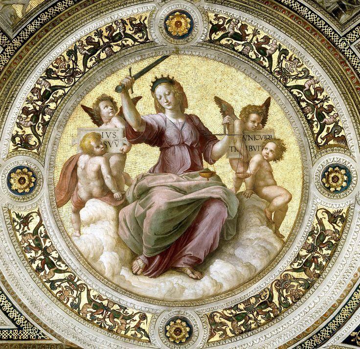 Рафаэль Санти: Станца делла Сеньятура: Роспись потолка (деталь) - ПравосудиеМузеи Ватикана, Ватикан (Musei Vaticani, Vatican).  1511