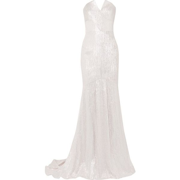 Roland Mouret Brenner textured-lamé gown ($4,080) ❤ liked on Polyvore featuring dresses, gowns, long dresses, maxi dresses, dresses/gowns, cream maxi dresses, white strapless gown, white evening dresses, white evening gowns and long sparkly dress