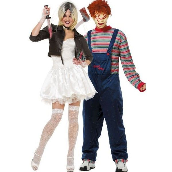 Chucky and Bride Couples Costumes ❤ liked on Polyvore featuring costumes, white costumes, bride costume, white halloween costumes, couples costumes and bride halloween costume