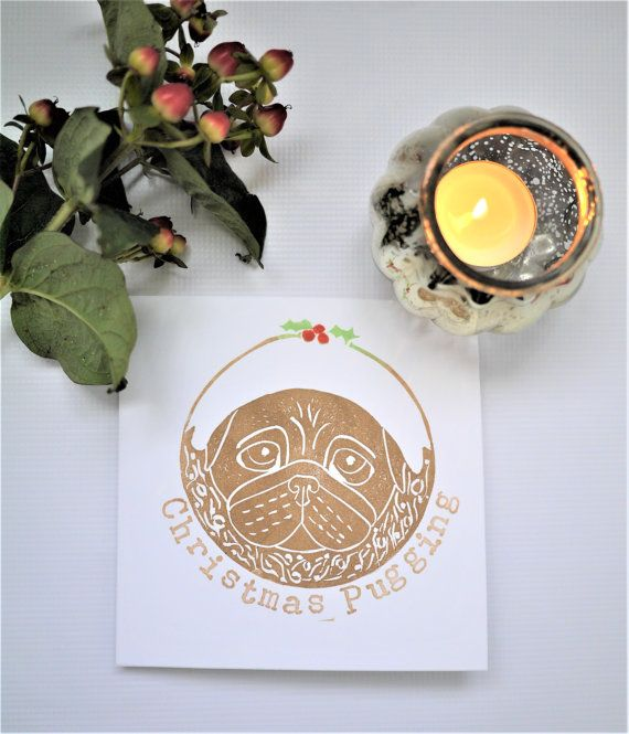 Pug Christmas Card Lino Print Handprinted by The Black Pug Press