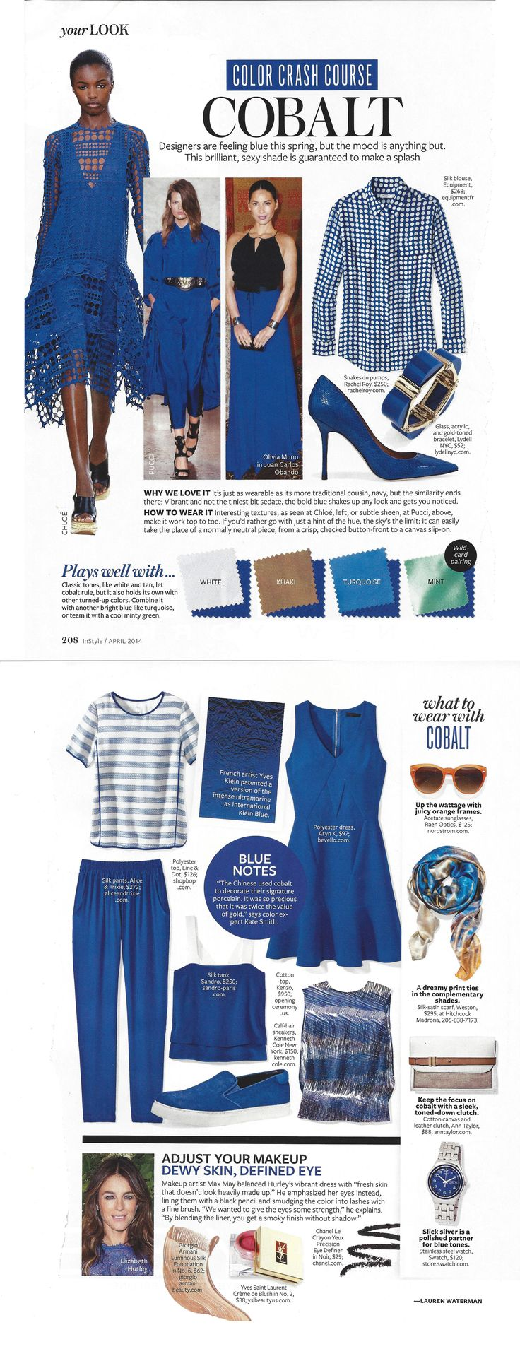 Instyle magazine April 2014 Cobalt Color Crash Course