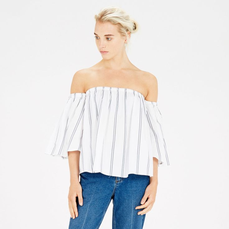Warehouse, STRIPE BARDOT A-LINE TOP Neutral Stripe 1
