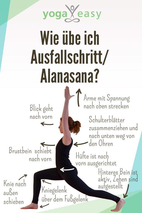 Anleitung für die Yoga-Übung Alanasana, Ausfallschritt oder auch High Lunge. D