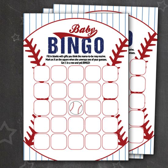 FREE Printable Baseball Baby Bingo Cards that are PERFECT for your sports themed baby shower. Super cute design and such a fun game to play at a baby shower