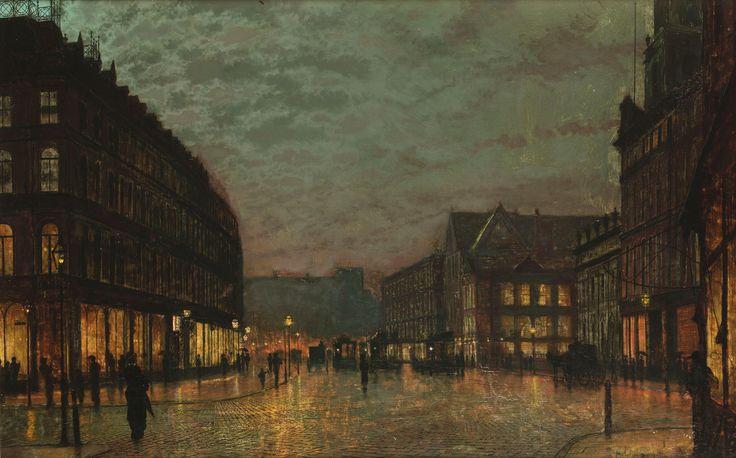 Entre más conozco del trabajo de los prerafaelistas más me gusta este movimiento, son pinturas extraordinarias! John_Atkinson_Grimshaw_Boar_Lane_Leeds_by_lamplight_1881.jpg (5103×3176)