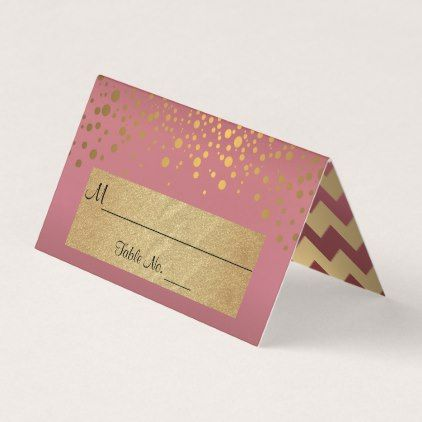 Rose and Gold Chevron and Confetti Dots 2 Place Card - confetti wedding marriage party gift idea diy