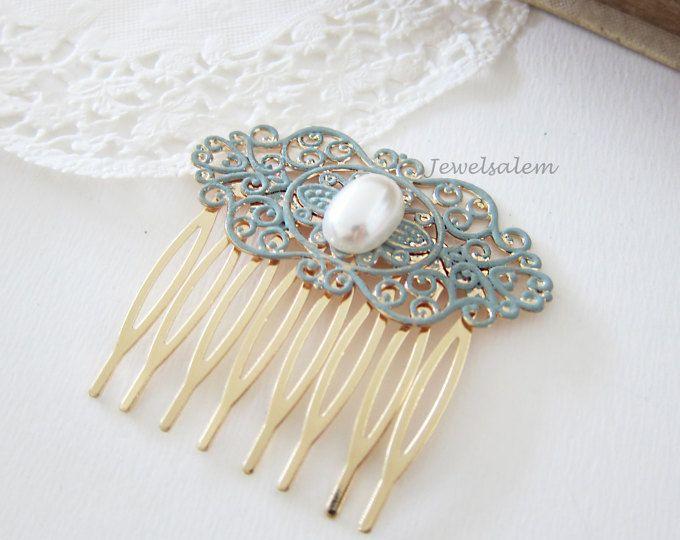 Novia pelo peine peine perla de turquesa peine boda Teal diapositiva de pelo Chintz romántico victoriano moderno peine del pelo de la boda para la novia