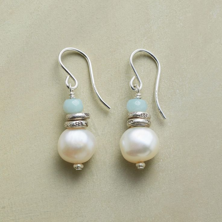 """SERENITY PEARL EARRINGS--Our handmade Serenity Pearl Earrings display soothe-the-soul stacks of amazonite, sterling silver beads and uniquely irregular cultured pearls. Sundance exclusive handcrafted in USA with sterling silver French wires. 1-1/4""""L."""