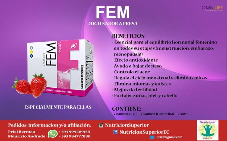 FEM - Omnilife - Jugo de fresa que ayuda a mejorar el sistema reproductor femenino en todas sus etapas.   Elimina cólicos menstruales.  Disuelve quistes y miomas.