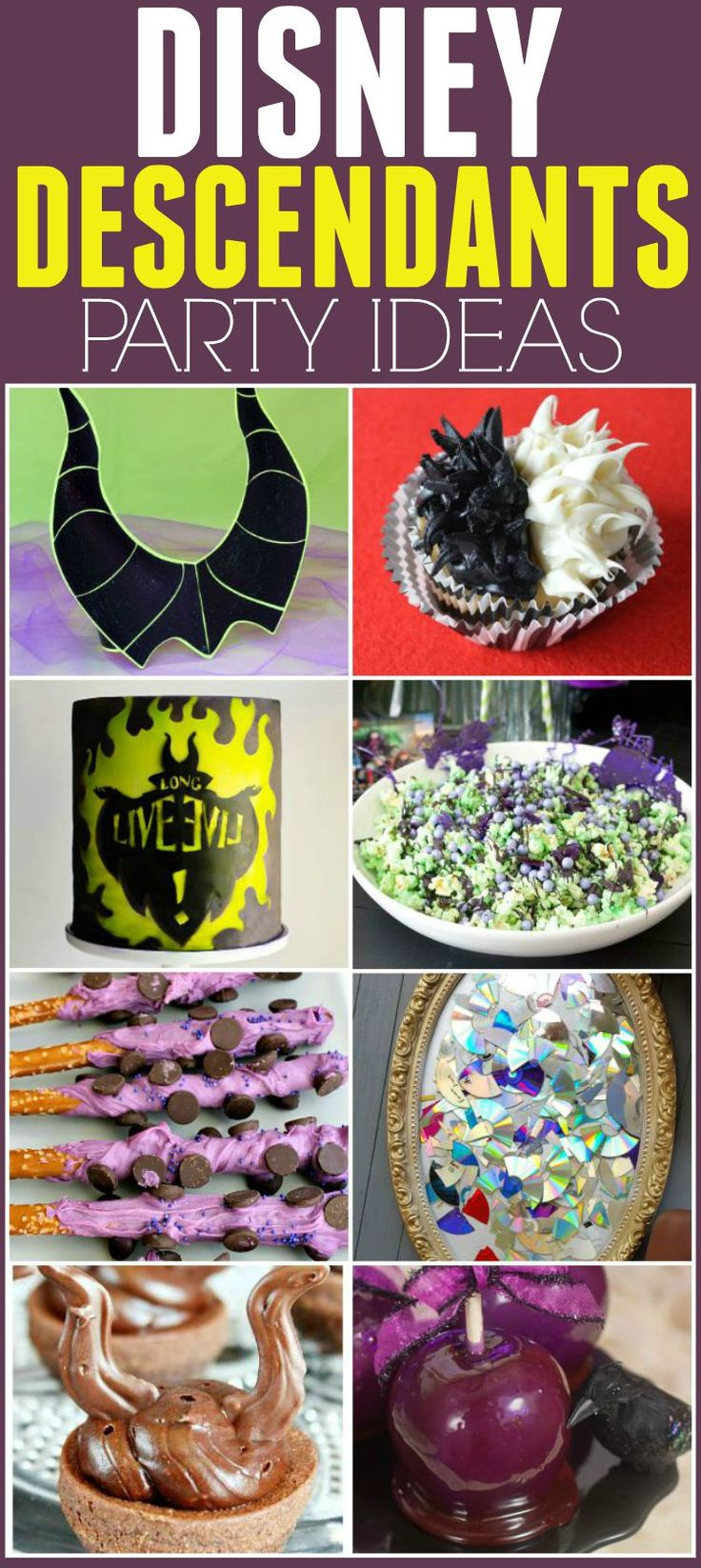 Throwing a Disney Descendants birthday party or Halloween party? These fun ideas are perfect for that. Plus great for a evil villains party too. Edit description Throwing a Disney Descendants birthday party or Halloween party? These fun ideas are perfect for that. Plus great for a evil villains party too.