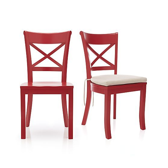 Vintner Red Side Chair and Cushion | Crate and Barrel