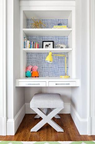 Contemporary Kids Bedroom with Built-in bookshelf, Hardwood floors, High ceiling, no bedroom feature
