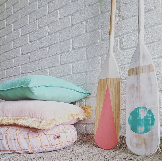 Rosa timber painted oar by Coastaltrader on Etsy