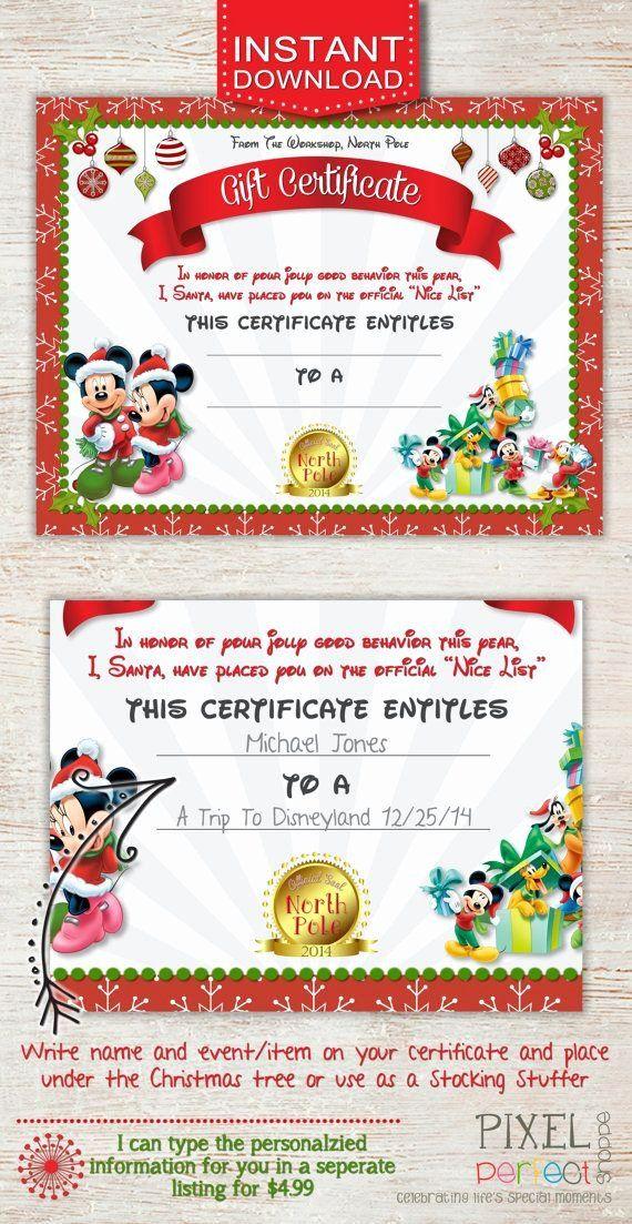 20 Disney Gift Certificate Template Dannybarrantes Template Christmas Gift Certificate Printable Gift Certificate Disneyland Gifts