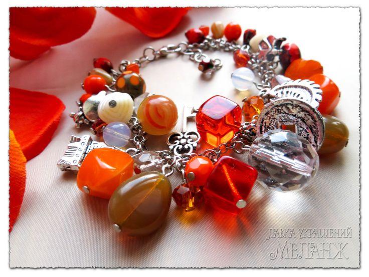 ОРАНЖЕВЫЙ БРАСЛЕТ. Чешское стекло. Летние браслеты. Украшения ручной работы. Оранжевые украшения. Лавка украшений Меланж.