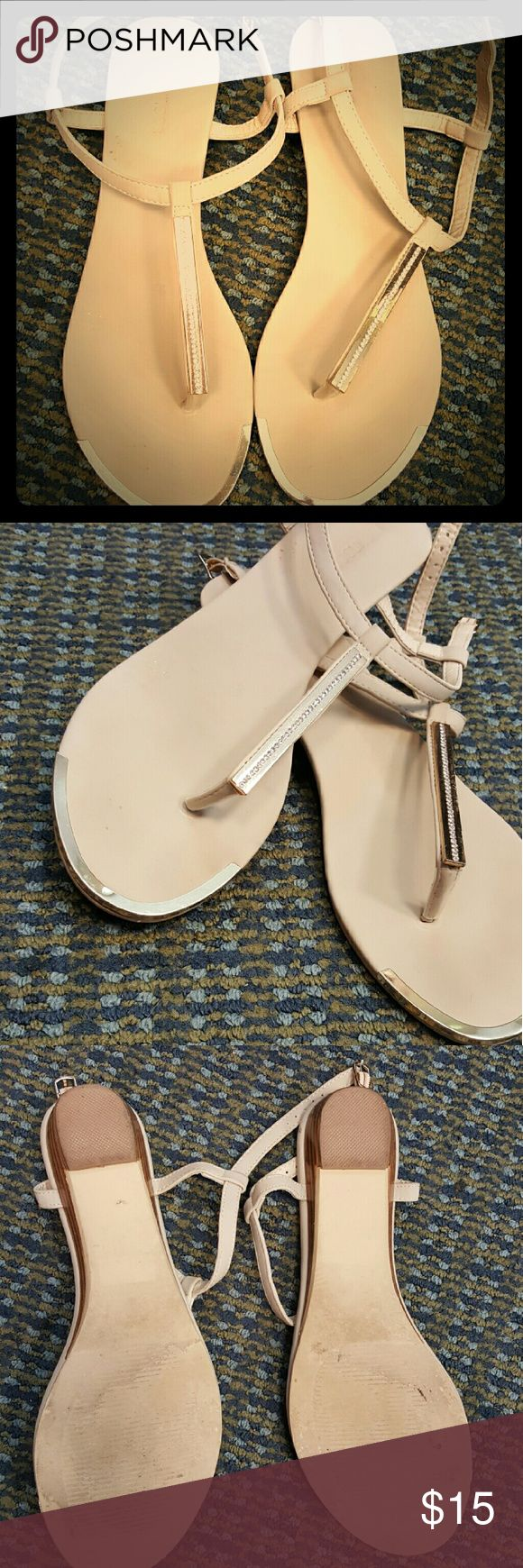 Strappy sandals with some bling! Light tan with gold bar, inset with rhinestones - only wore twice for a couple hours...a little too big for me as I'm more of a 9.5 Maurices Shoes Sandals