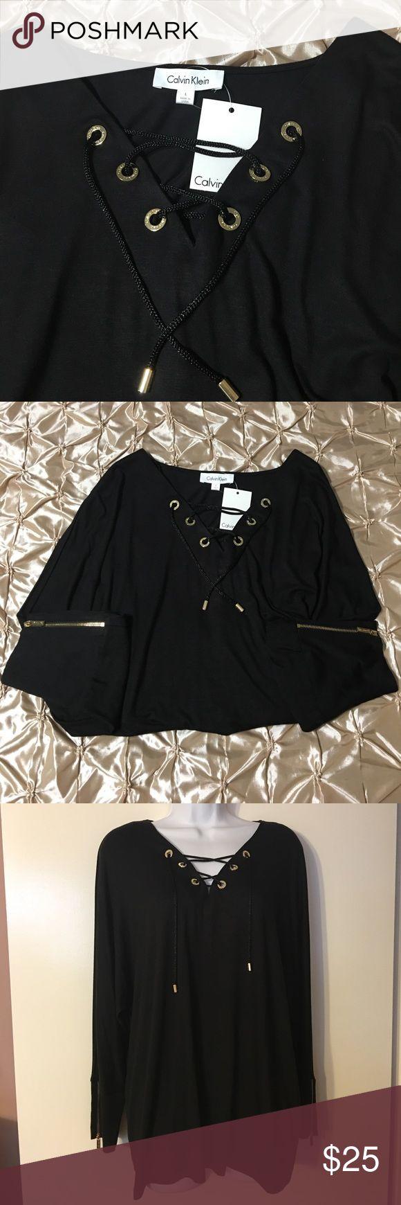 Calvin Klein Women's Top NWT  Klein Women's Embellished Dolman Pullover Top Black L Calvin Klein Tops Blouses