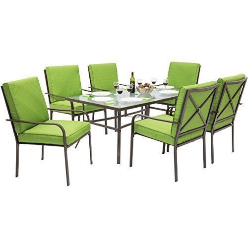 Patio Dining Set Table & 6 Chairs with Cushion Steel Frame Outdoor Furniture NEW #PatioDiningSetTable6Chairs