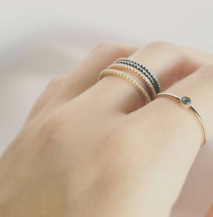 Minimal Dot Ring + Stacking Rings #madeingreece #jewelry