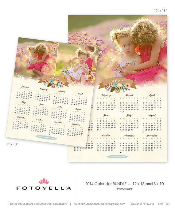 """Primavera"" 2 PAK  2014 Photoshop Calendar Template Bundle  8x10 by FOTOVELLA / Featured images © Munchkins & Mohawks Photography"