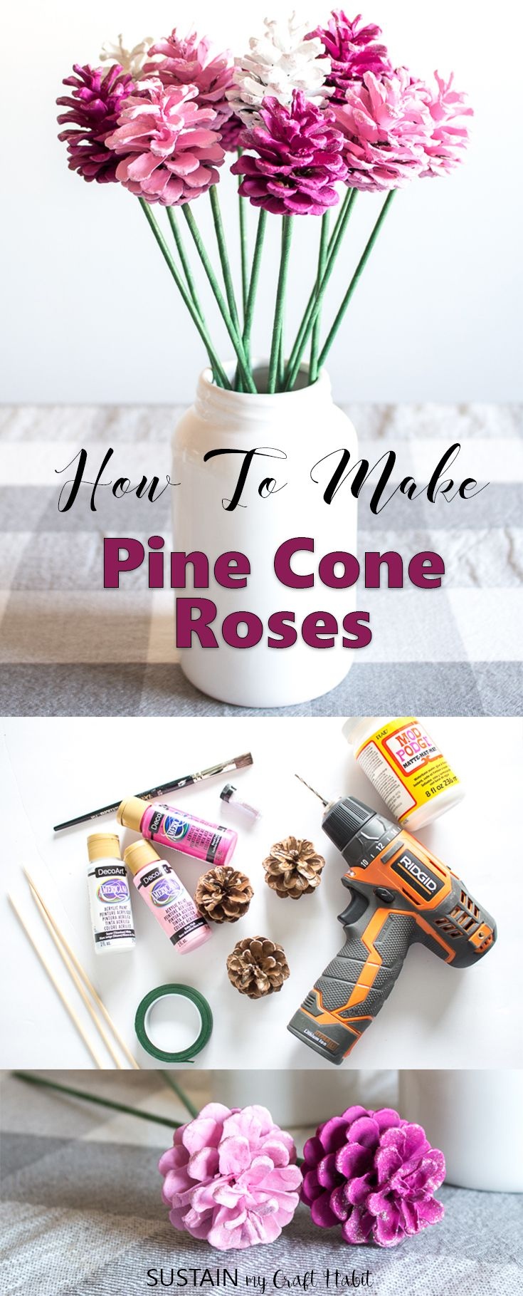 So simple and pretty!!! Learn how to make Pine Cone Roses
