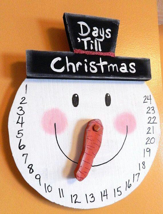 voorbeeld van een afteller, kan met papieren bord    Count down snowman