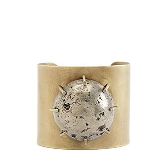 // Pyrite Sphere Cuff Cuffs Bracelets, Wearstler Pyrite, Bracelets Cuffs, Pyrite Cuffs, Kelly Wearstler, Brass Pyrite, Brass Cuffs, Pyrite Sphere, Sphere Cuffs