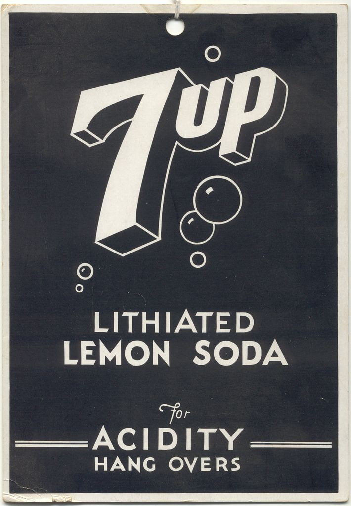 7up Lithiated Lemon Soda - c. 1935 - for Acidity Hang Over - 7UP in the early years included lithium citrate - @~ Watsonette: