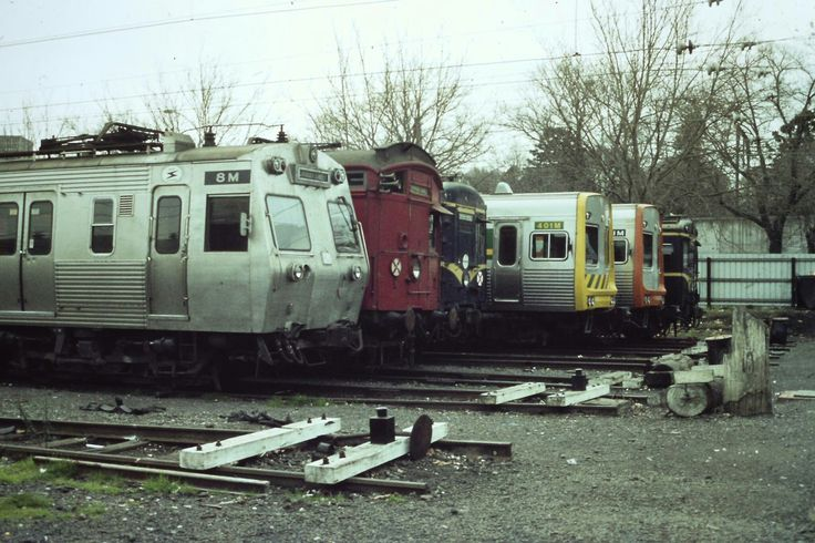 Five different colour schemes, four different types of trains