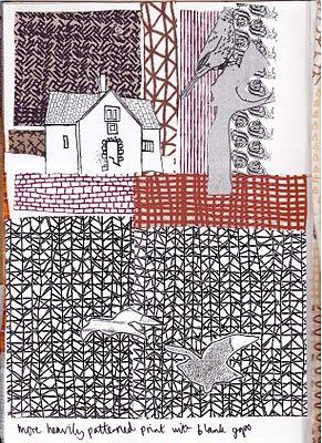 Leather Sketchbook- Easter Monoprinting , Textiles Sketchbooks , Inspiration for CAPI Students @ milliande.com, GCSE Textiles Sketchbook #textiles #sketchbook #portfolio #art with thanks to Textile Artist Jo Faulkner Textile Design