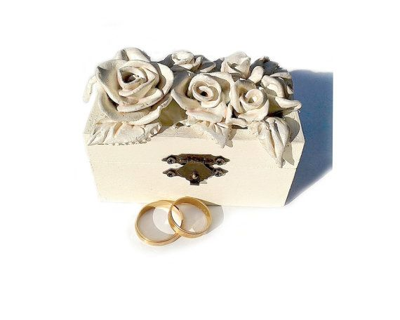 Rose Wedding ring Box with Pillow handmade unique by PilipArt, $44.00