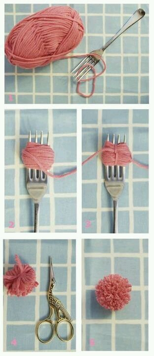 Simple process images for making tiny wool pom poms with a fork.