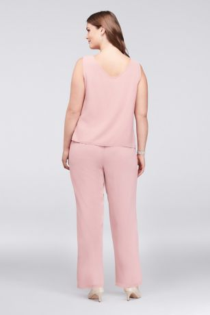Lace-Detailed Georgette Plus Size Pantsuit Style 27335, Dusty Rose, 24W 3