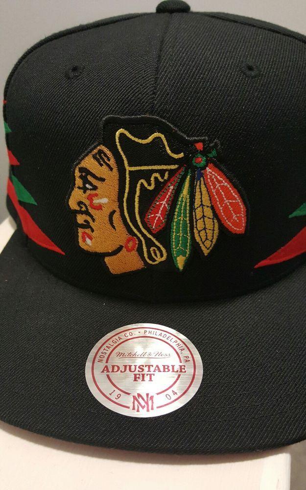 Chicago Blackhawks Black Snapback Mitchell and Ness Logo NHL Hockey New NWT #MitchellNess #ChicagoBlackhawks