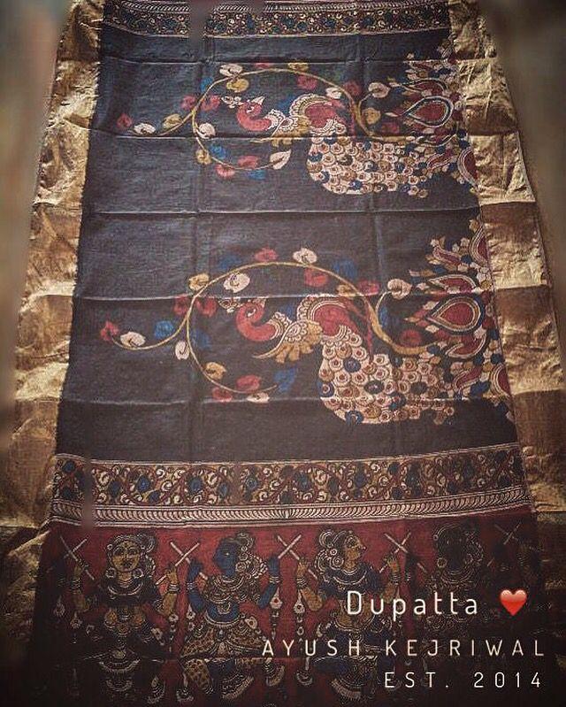 Kalamkari hand painted dupatta By Ayush Kejriwal For purchases email me at designerayushkejriwal@hotmail.com or what's app me on 00447840384707 We ship WORLDWIDE. Instagram - designerayushkejriwal