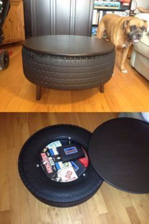 DIY Mancave Decor Ideas - Recycled Tire Coffee Table - Step by Step Tutorials and Do It Yourself Projects for Your Man Cave - Easy DIY Furniture, Wall Art, Sinks, Coolers, Storage, Shelves, Games, Seating and Home Decor for Your Garage Room - Fun DIY Projects and Crafts for Men http://diyjoy.com/diy-mancave-ideas