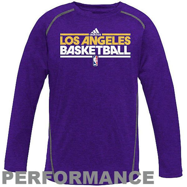 adidas Los Angeles Lakers Youth ClimaLITE Heathered Long Sleeve Performance T-Shirt - Purple - $12.99