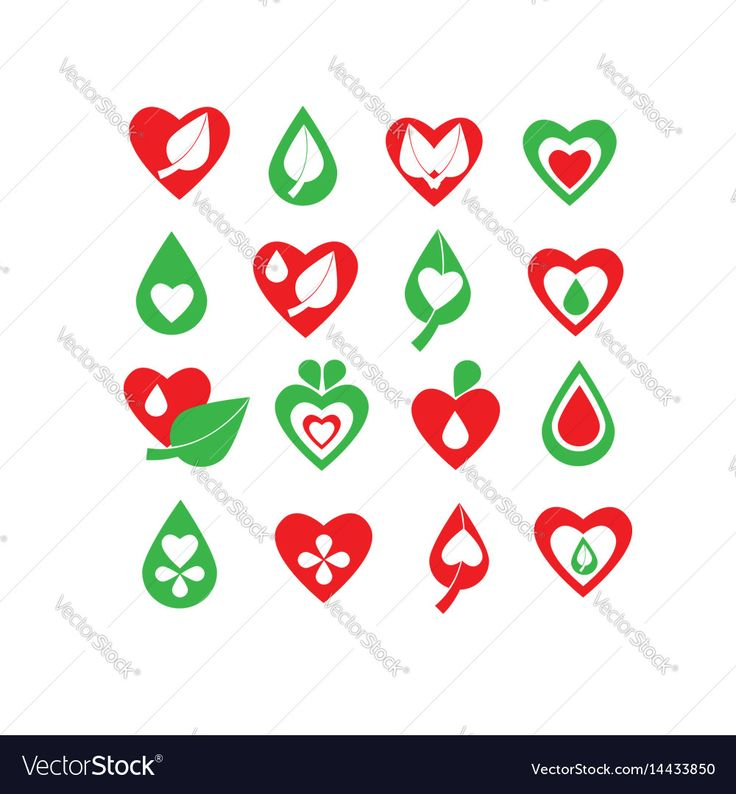 Green and red organic natural biology icon set Vector Image by NiMa_Design