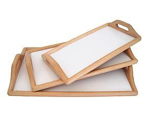 Set di 3 vassoi in legno Elena Madra - 40x6x19 cm