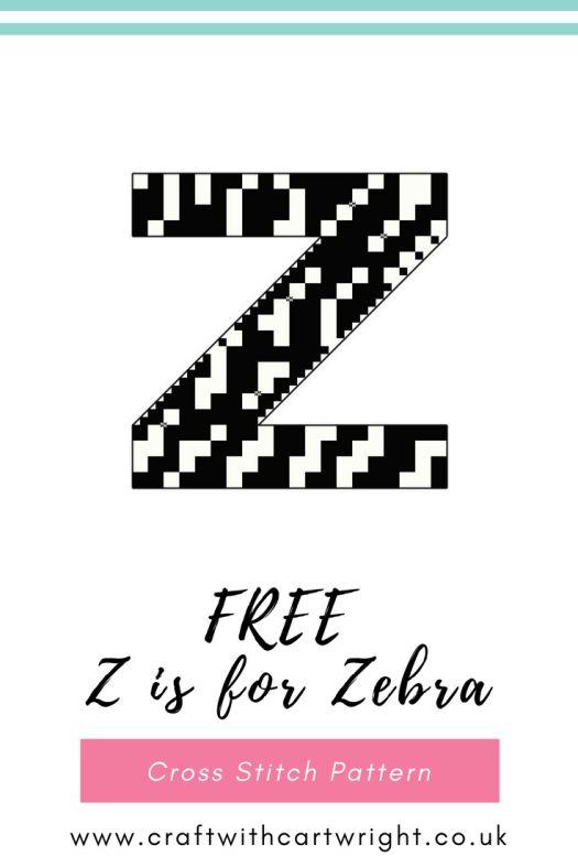 Free cross stitch Z is for Zebra pattern - Craft with Cartwright